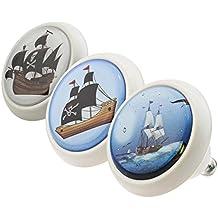 Perillas Tiradores de Muebles conjunto surtido ECO044 0729 3 piezas Barcos Piratas llamativo blanco negro gris rosa azul verde amarillo rojo 4,3 cm de diámetro Perilla de los muebles, un armario, cajón, gabinete, manijas, porcelana, niños