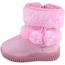 SGoodshoes Niños Zapatillas Botas Nieve Invierno Impermeable con Cozy Faux Fur Trim
