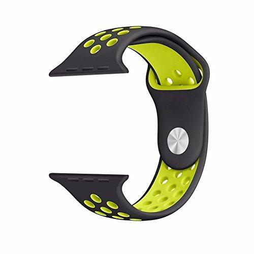 Apple Watch Banda, funanasun 38mm/42mm suave silicona Sport correa de repuesto iWatch, liberación rápida pulsera para Apple iWatch serie 2serie 1Nike deporte banda, color Black&Fluorescent Yellow, 38mm