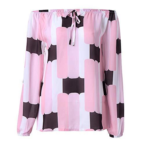 IMJONO Damen Streifen T-Shirt mit Kapuze ärmellosen Elegant Casual Tops Bluse(EU-38/CN-L,Rosa)