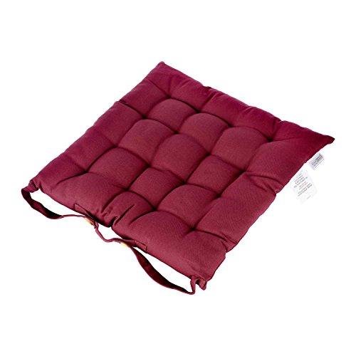 Homescapes dekoratives Stuhlkissen mit Bändern und Knopfverschluss, 40 x 40 cm in bordeaux, Bezug aus 100% reiner Baumwolle mit Polyester Füllung, pflegeleicht, waschbar bis 40° C