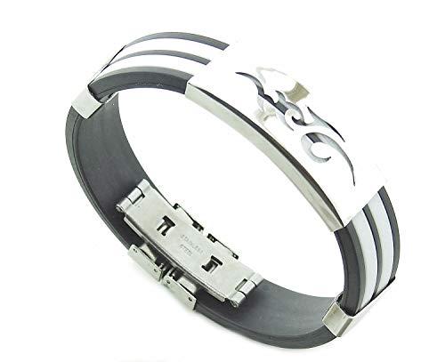 Lovelegis Herrenarmband - Herren Armband- Gummi - Rostfreier Stahl - Stammes - Weiße Farbe