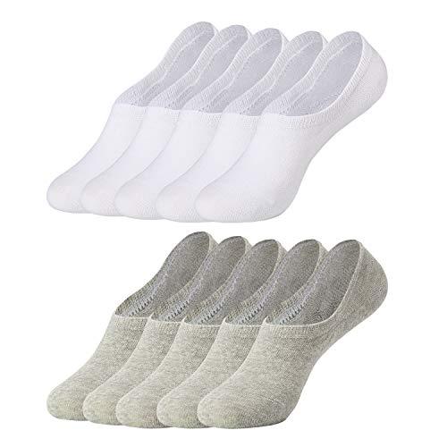 Falechay Sneaker Socken Herren Damen Füßlinge Unsichtbare 10 Paar Sneakersocken Grau Weiß 43-46