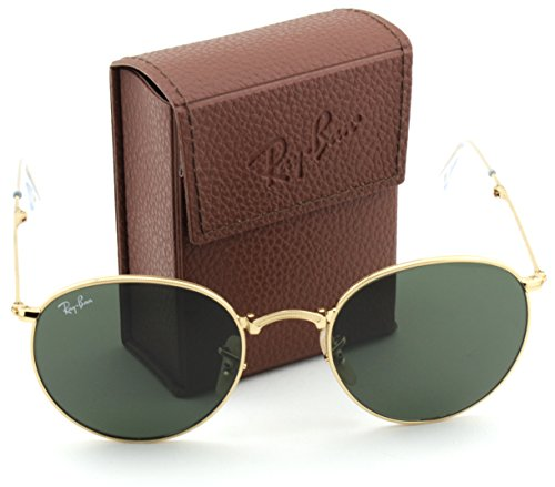 Ray-Ban RB3532 Round Folding Flash Series Unisex Sunglasses (Gold Frame / Green G-15 Lens 001, 50)