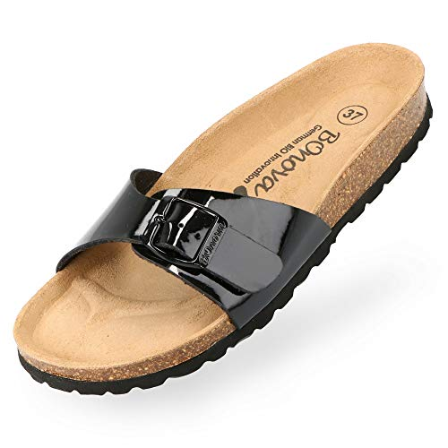 BOnova Damen Pantoletten Teneriffa in 10 Farben, modischer Einriemer mit Korkfußbett - komfortable Sandalen zum Wohlfühlen - hergestellt in der EU schwarz Lack 39
