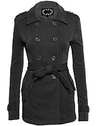 Klassische Damen Blazer Jacke mit langen Ärmeln Gürtel Knöpfe in Zweierreihe