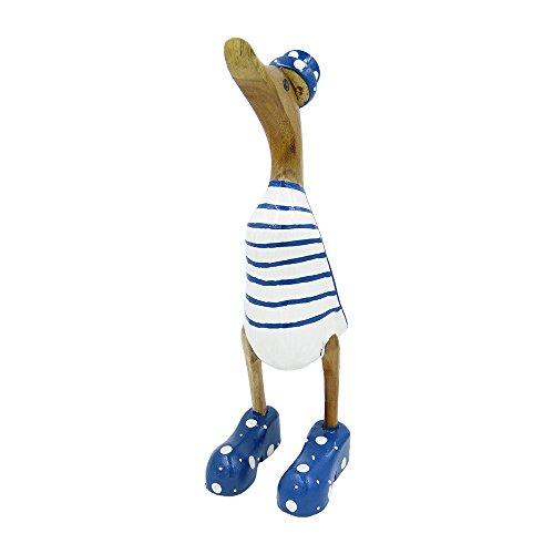 osters muschel-sammler-shop Gestreifte-geringelte Holz-Ente mit Bunten Stiefel und Hut/Zylinder aus Echtem Holz - der Deko-Trend 2018-25cm Höhe (Blau/Weiss)