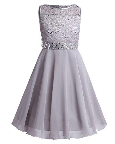 Tiaobug Festlich Mädchen Kleid für Kinder Prinzessin Spitzen Kleider Hochzeit Blumenmädchenkleid 92 104 116 128 140 152 164 Grau ()