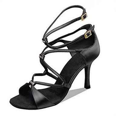 Silence @ Chaussures de danse pour femme en satin Latin Jazz Swing Salsa Chaussures Talon Practise débutant Professional Sandales Camel