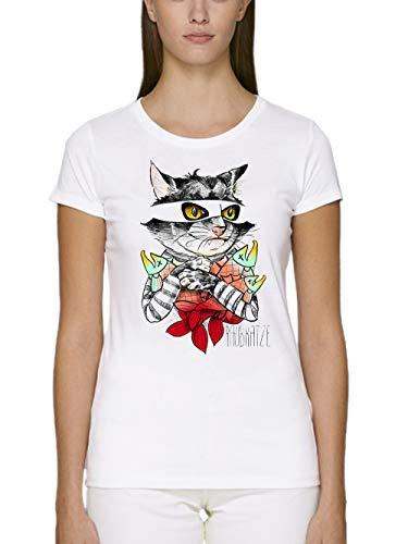 clothinx Damen T-Shirt Fit Bio und Fair Raubkatze Weiß Gr. M