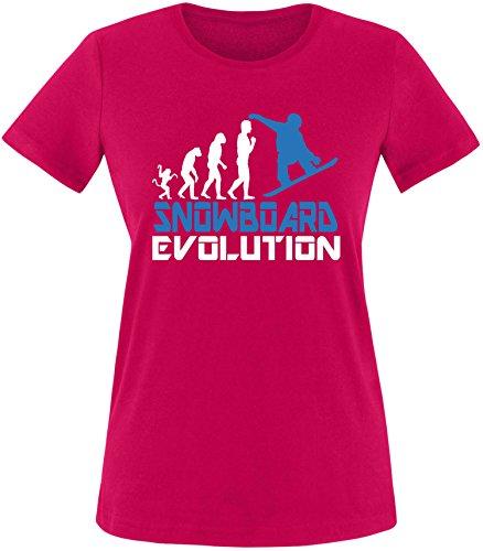 EZYshirt® Snowboard Evolution Damen Rundhals T-Shirt Sorbet/Weiss/Blau