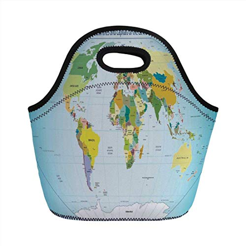 Portable Bento Lunch Bag,Wanderlust Decor,World Map with Countries and Capital Cities of The Earth with Oceans and Lakes Graphic Art,Multi,for Kids Adult Thermal Insulated Tote Bags