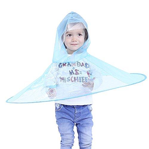 Kinder Regenmantel Regenschirm Hut   Faltbare Hände frei Regenmantel für Kinder 2-8 Jahre Adorable Neuheit UFO Regenmantel (Blau, S)