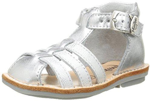 Minibel Kegepy, Chaussures Bébé marche bébé fille Argent (70 Argent/Imp Blanc)