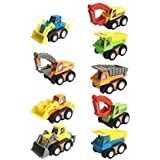 PLUSPOINT Pull Back Vehicles, Mini Push Pull Back Car, Assorted Construction Vehicles Toys, Kids Pull Back Racer Cars Toy Play Set, Vehicle Play Set For Children For Fun