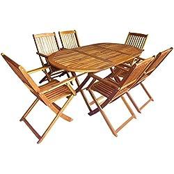 Tidyard 7 pcs Mobilier d'extérieur Pliable avec 1 Table et 6 Chaises en Bois d'acacia Massif Salon de Jardin   Mobilier de Jardin   Mobilier de Salle à Manger