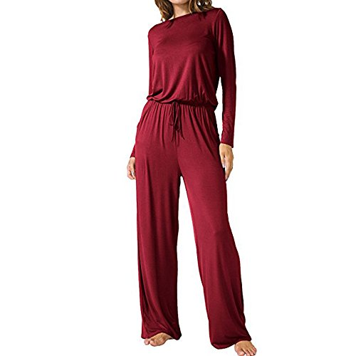 Dreamskull Jumpsuit Einteiler Overall Hosenanzug Lang Langarm Elegant Romper Playsuit Pyjama Gemühtlich Wasserfallkragen Rückenfrei Einfarbig Herbst Winter Damen Frauen