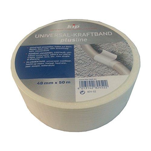 10 Rollen Kip Universal-Kraftband 48mm x 50m weiß Gewebeklebeband Reparaturband Isolierband Montageklebeband