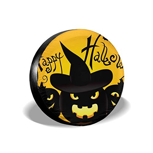 eckung, Happy Halloween Potable Polyester Universal Spare Wheel Tire Cover Wheel Covers Jeep Trailer RV SUV Truck Camper Travel Trailer Accessories 15 in ()