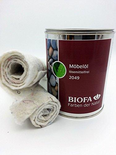 Biofa | Möbelöl | lösemittelfrei | 0,75 l | Set mit 2 Ölsaugtüchern