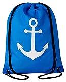 Aminata Kids - Kinder-Turnbeutel für Mädchen und Damen mit Maretim Anchors Meer Urlaub Reisen Anker Sport-Tasche-n Gym-Bag Sport-Beutel-Tasche Weiss dunkel-blau