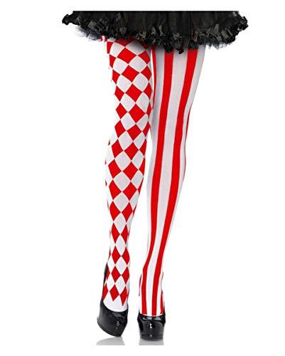 (Horror-Shop Rot-Weiße Clowns Strumpfhose für Damen)