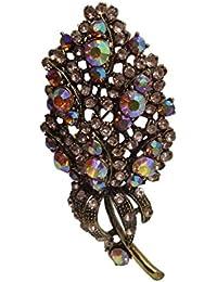Woap Designer Multi Color Stone Stone Antic Golden Polish Brooch.