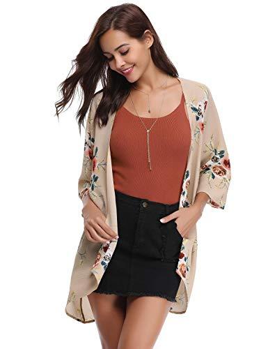 Aibrou Damen Sommer Boho Strand Kimono Florale Tops Cardigan Chiffon Shawl Bluse Beachwear Bikini Cover up Leichte Jacke Oberteil Rosa -
