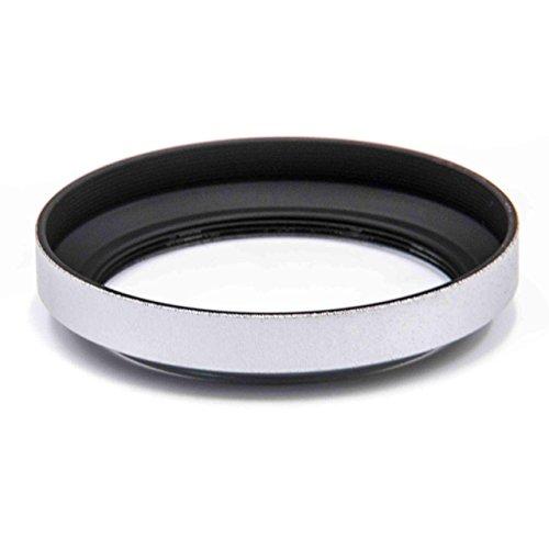 vhbw Aluminium Gegenlichtblende Streulichtblende Sonnenblende 46mm schwarz/Silber für Objektiv Carl Zeiss 28mm f/2.8 Biogon