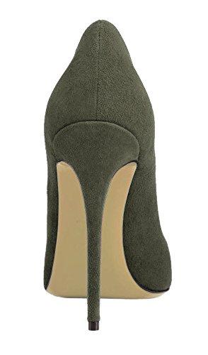 Guoar High Heels Damenchuhe Große Größe Pumps Einfach Stil Spitze Zehen Hand gemacht Stiletto Büro-Dame Party Hochzeit Armee-Grün Samt