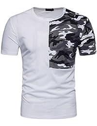 Camisa Hombre ❤️Amlaiworld Moda Hombre Camisa de camuflaje casual Patchwork O cuello pullover camiseta Tops