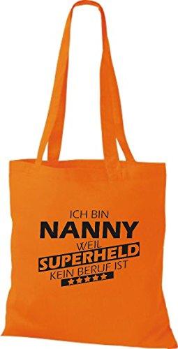 Shirtstown Stoffbeutel Ich bin Nanny, weil Superheld kein Beruf ist Orange
