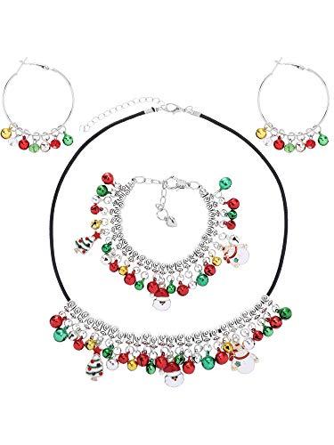 Tatuo Weihnachten Glocke Schmuck Dekoration Set, Einschließlich Rot Grün Gold Silber Glocke Hoop Ohrringe, Halskette, Armband für Damen Mädchen (Dekorationen Gold Und Rot)