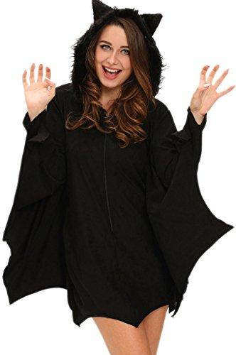 Fortuning's JDS Frauen alle im schwarzen Schläger erwachsenen Halloween Kostüm (Für Mit Kostüme Flügeln Anime Cosplay Männer)