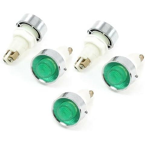 5 piezas de la CA 220 V 12 mm verde bombilla lámpara de señal indicador de luz piloto