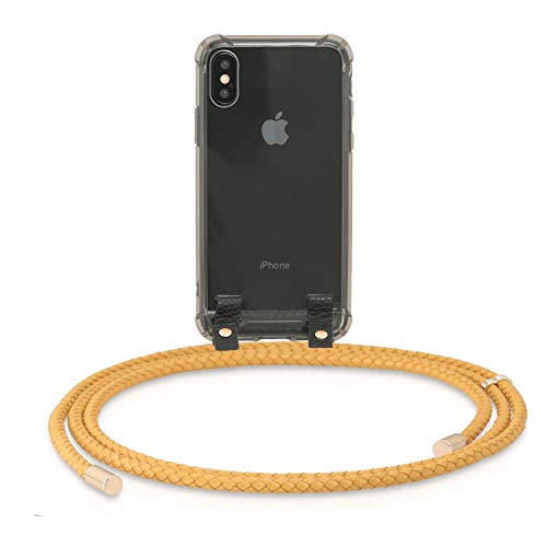 MONOCORD Leder Handykette kompatibel mit iPhone X und XS - Premium Handyhülle Necklace Case mit geflochtenem Lederband zum Umhängen, Mustard/senf Mustard Cord