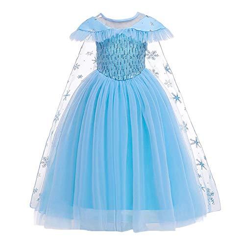 OwlFay ELSA Prinzessin Kostüm Mädchen Kinder Eiskönigin Kleid Karneval Party Halloween Verkleidung Blau B 3-4 Jahre