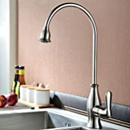 SHUYOU® Traditional Nickel Brushed Finish One Hole Single Handle Deck Mounted Rotatable Kitchen Faucet