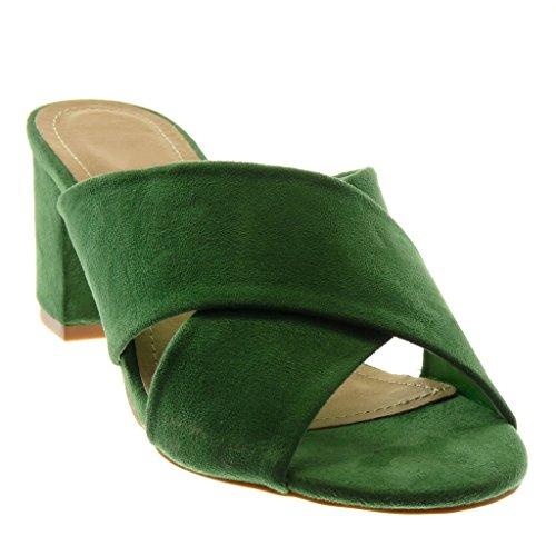 Angkorly Chaussure Mode Sandale Mule Slip-On Femme Lanière Talon Haut Bloc 7 cm Vert