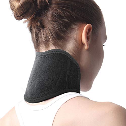 LIBINA - Schulter Heizkissen Heizung Neck Wrap Pads, Neck Support Brace Strap Selbsterwärmende Neck Wrap und Turmalin einstellbar Halskragen Knochen Relaxer,Black
