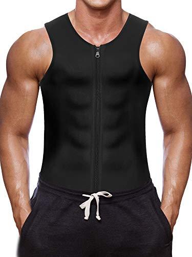 Herren Fitness Shape Shirt Figur formend Training Achselshirts Weste Sauna Schwitzeffekt Tank Top stark formend Gym Bodyshape mit Reißverschluss Neopren breit Träger, Schwarz, L