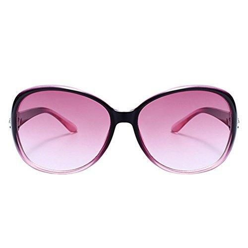 Mackur Sonnenbrillen Frauen Polarisiert Großer Rahmen Anti-Reflexion 100% UV 400 Augenschutz Stilvolle Oversized Lässige Brille Runde Sonnenbrille (Lila Grenze)