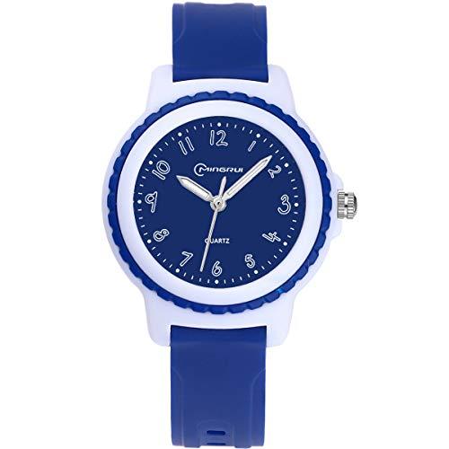 Kinderuhren Jungen Mädchen, Kinder Wasserdichte Analoge Uhr Zeitunterricht Armbanduhr Kinder (Dunkelblau)