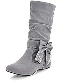 TOOGOO(R) Botas sueltos de lazo planas medias altas de moda de mujeres Gris 36