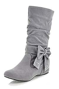 TOOGOO (R)Damen mode mittlere hoch flach Schleife Slouch Stiefel grau 35 d00APt7PH