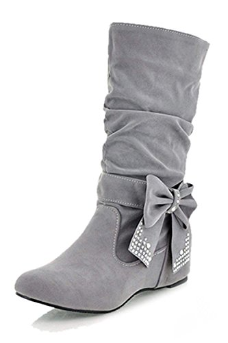 femme bottes - SODIAL(R)femme plier rhinestone arc bottes gris 39