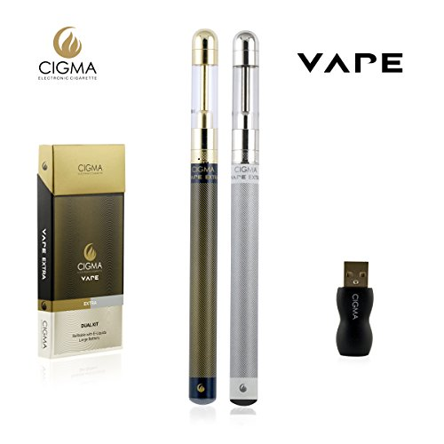 Cigma Vape Double Kit | Grande batterie | Grand Clearomizer | Qualité premium Kit Rechargeable Rechargeable cigarette électronique Starter | E Shisha | Batterie rechargeable | Clearomizer Rechargeable | Vaporisateur | Noir et Blanc | Garantie de remboursement