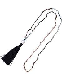 5477c2afd2cb KELITCH Bohemio Facetado Cristal Abalorios Cadena Collar con Nácar Borla  Colgante