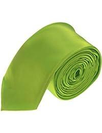 Neon Green Mens Plain Skinny Tie Handmade Wedding Fashion *UK Seller*