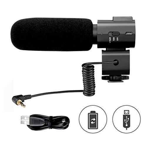 CRAPHY Richtrohrmikrofon, Stereo Camcorder Mikrofon mit USB wiederaufladbar Akku, Videomic mit Windschutz und Blitzschuh, Kamera Interview Mic für DV Camcorder DSLR Kamera mit 3,5mm Mic-Stecker